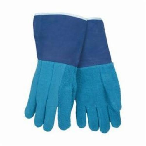 Memphis 9428GFR Hotline Heavyweight Hot Mill Gloves, L, ANSI Heat Level: 5, Terrycloth, Blue, Unlined Lining, Plasticized Gauntlet Cuff, Uncoated Coating, 13-1/2 in L, 608 deg F Max