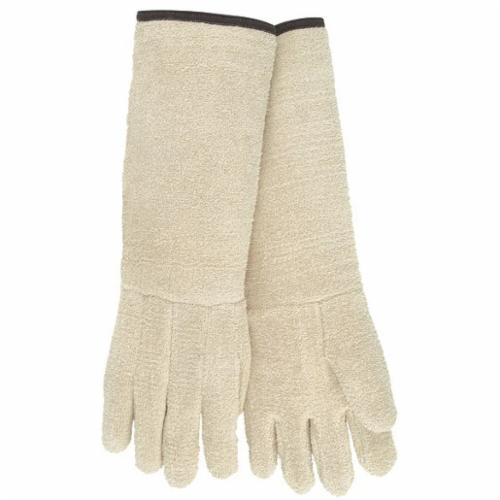 Memphis 9432G11 Hotline Extra Heavyweight Hot Mill Gloves, L, ANSI Heat Level: 4, Terrycloth, Natural, Unlined Lining, Plasticized Gauntlet Cuff, Uncoated Coating, 18-1/2 in L, 500 deg F Max
