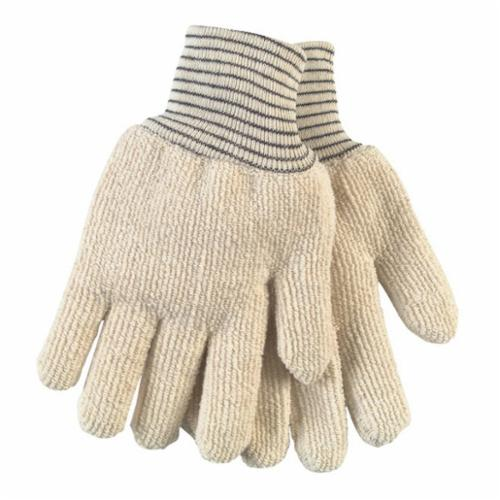 Memphis 9433 Hotline Extra Heavyweight Reversible Hot Mill Gloves, L, ANSI Heat Level: 4, Terrycloth, Natural, Unlined Lining, Knit Wrist Cuff, Uncoated Coating, 10.8 in L, 500 deg F Max
