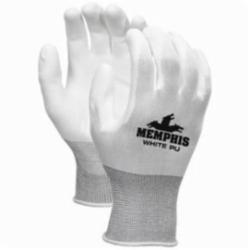 Memphis 96655L Dipped General Purpose Gloves, Coated, L, Polyurethane Palm, Polyester, Black/White, Knit Wrist Cuff, Polyurethane Coating, Resists: Abrasion, Standard Finger