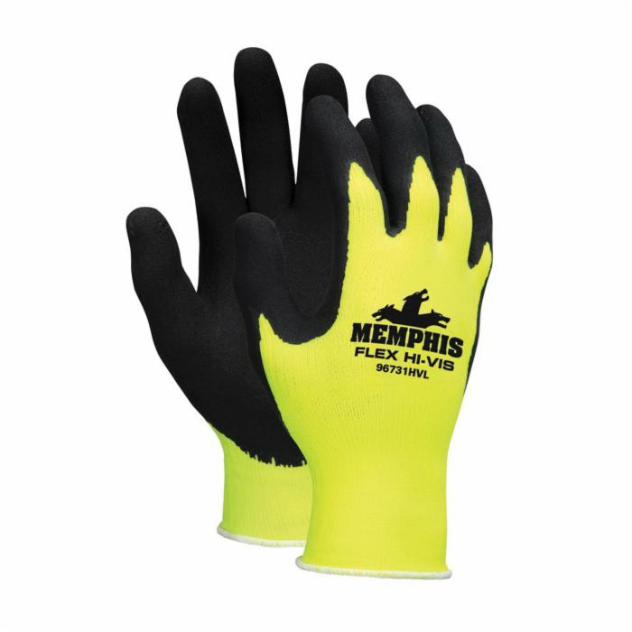 Memphis 96731HVL HV Flex® 96731 Dipped General Purpose Gloves, Coated/Multi-Purpose, Seamless/Standard Finger Style, Foam Latex Palm, 13 ga Nylon, Black/Hi-Viz Yellow, Knit Wrist Cuff, Foam Latex Coating, Resists: Abrasion, Cut, Puncture and Tear