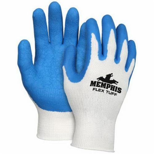 Memphis 9680 FlexTuff® Flat Dipped General Purpose Gloves, Coated, Latex Rubber Palm, 10 ga Cotton/Polyester, Blue/White, Knit Wrist Cuff, Latex Rubber Coating, Resists: Abrasion, Cut, Puncture and Tear, Cotton/Polyester Lining
