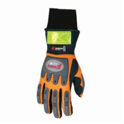 Memphis HV200L ForceFlex® HV200 Multi-Task Premium Grade Mechanic's Gloves, L, Synthetic Suede Leather Palm, Cotton Thread/Neoprene Cuff/Polyester/Synthetic, Hi-Viz Orange/Gold, Slip-On/Open Cuff, Resists: Abrasion, Cut, Puncture, Tear, Water and Wind