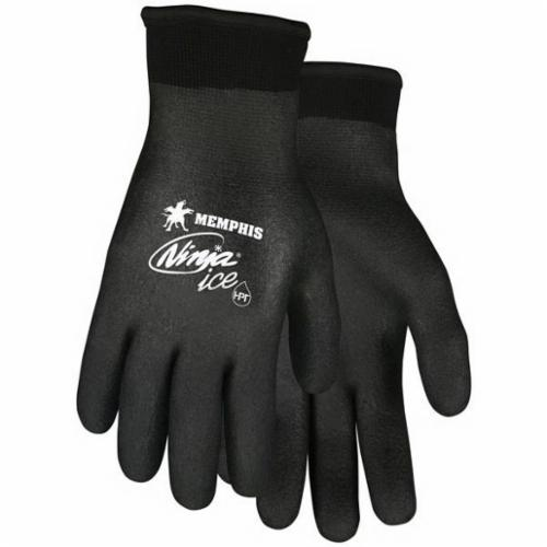 Memphis N9690FC Ninja® Ice Dipped Insulated General Purpose Gloves, Coated, HPT™ Palm, 15 ga Acrylic/Nylon, Black, Knit Wrist Cuff, HPT™ Coating, Resists: Abrasion, Cut, Puncture and Tear, Acrylic Lining, Standard Finger
