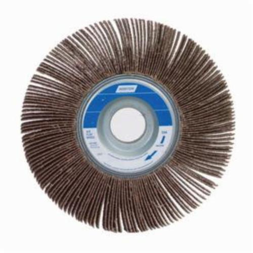 Norton® Merit® 08834121025 Sof-Tutch K-0615 Type K Super Finish Coated Flap Wheel, 6 in Dia, 1-1/2 in W Face, P120 Grit, Medium Grade, Aluminum Oxide Abrasive