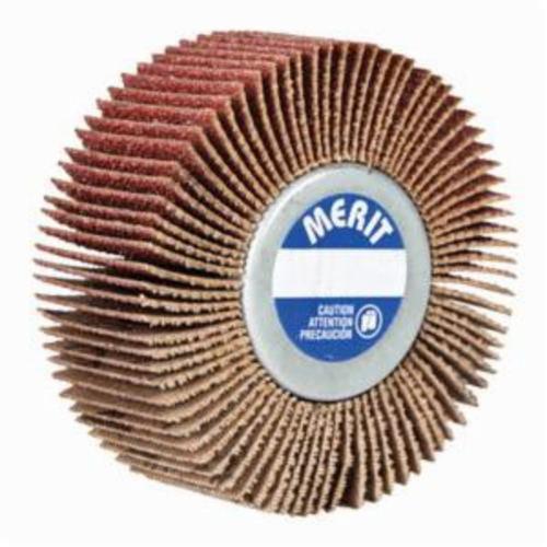Merit® Grind-O-Flex™ 08834130749 XX-3010 Mini Mounted Super Finish Coated Flap Wheel, 3 in Dia, 1 in W Face, P80 Grit, Medium Grade, Aluminum Oxide Abrasive