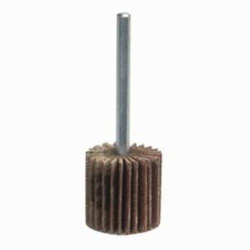 Merit® Grind-O-Flex™ 08834130796 MM-3007 Mini Mounted Super Finish Coated Flap Wheel, 3 in Dia, 3/4 in W Face, 1/4 in Dia Shank, P60 Grit, Coarse Grade, Aluminum Oxide Abrasive