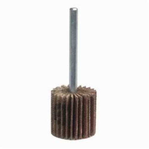 Norton® Merit® Grind-O-Flex™ 08834130803 Mini Super Finish Small Diameter Coated Flap Wheel, 3 in Dia Wheel, 1 in W Face, 1/4 in Dia Shank, 80 Grit, Medium Grade, Aluminum Oxide Abrasive