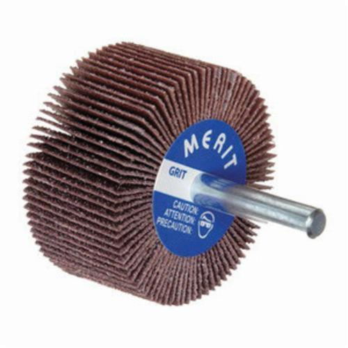 Merit® Grind-O-Flex™ 08834137142 MM-1510 High Performance Mini Mounted Coated Flap Wheel, 1-1/2 in Dia, 1 in W Face, 1/4 in Dia Shank, P120 Grit, Medium Grade, Aluminum Oxide Abrasive