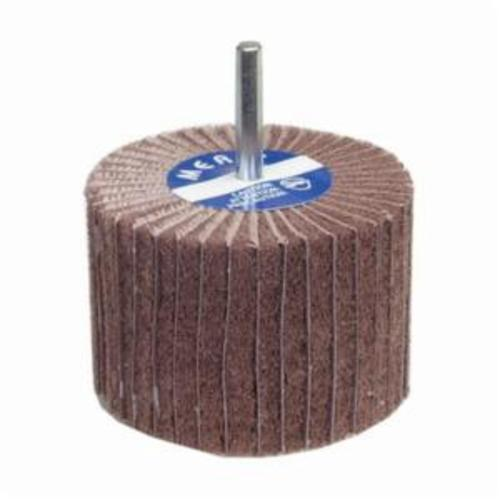 Merit® 08834131338 Spindle Mounted Non-Woven Flap Wheel, 3 in Dia Wheel, 2 in W Face, 1/4 in Dia Shank, 60 Grit, Coarse Grade, Aluminum Oxide Abrasive