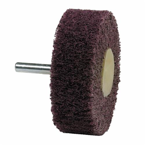 Norton® Bear-Tex® 66261051716 Non-Woven Flap Wheel With Straight Shank, 2 in Dia Wheel, 1 in W Face, 1/4 in Dia Shank, 120 Grit, Medium Grade, Aluminum Oxide Abrasive
