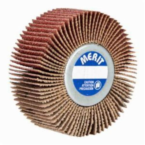 Norton® Merit® Grind-O-Flex™ 08834135002 XX-3005 Mini Mounted Super Finish Coated Flap Wheel, 3 in Dia, 1/2 in W Face, P80 Grit, Medium Grade, Aluminum Oxide Abrasive