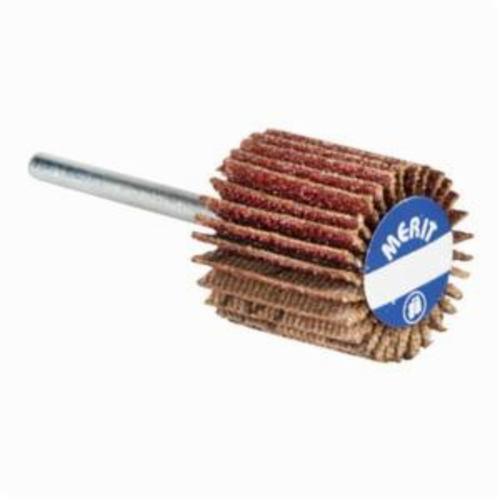 Merit® Grind-O-Flex™ 08834137511 MM-13638 High Performance Micro-Mini Mounted Coated Flap Wheel, 1-3/16 in Dia, 3/8 in W Face, 1/8 in Dia Shank, P80 Grit, Medium Grade, Aluminum Oxide Abrasive