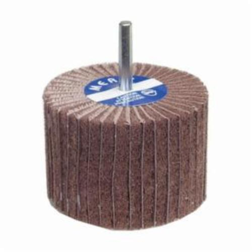Merit® 08834138116 Spindle Mounted Non-Woven Flap Wheel, 3 in Dia Wheel, 2 in W Face, 1/4 in Dia Shank, 80 Grit, Coarse Grade, Aluminum Oxide Abrasive
