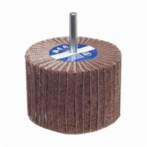 Merit® Bear-Tex® 08834138120 Combination Spindle Mounted Non-Woven Flap Wheel, 3 in Dia Wheel, 1 in W Face, 1/4 in Dia Shank, 180 Grit, Fine Grade, Aluminum Oxide Abrasive