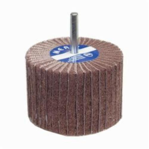 Merit® Bear-Tex® 08834138126 Combination Spindle Mounted Non-Woven Flap Wheel, 2 in Dia, 1-1/2 in W Face, 1/4 in Dia Shank, 120 Grit, Very Fine Grade, Aluminum Oxide Abrasive
