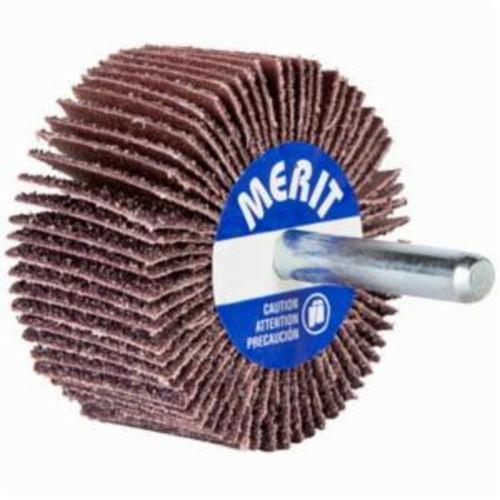 Norton® Merit® 08834149834 Mini Small Diameter Coated Flap Wheel, 3 in Dia Wheel, 1/2 in W Face, 1/4 in Dia Shank, 60 Grit, Coarse Grade, Aluminum Oxide Abrasive