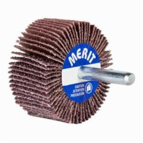 Merit® 08834149837 Mini Small Diameter Coated Flap Wheel, 3 in Dia Wheel, 1 in W Face, 1/4 in Dia Shank, 60 Grit, Coarse Grade, Aluminum Oxide Abrasive