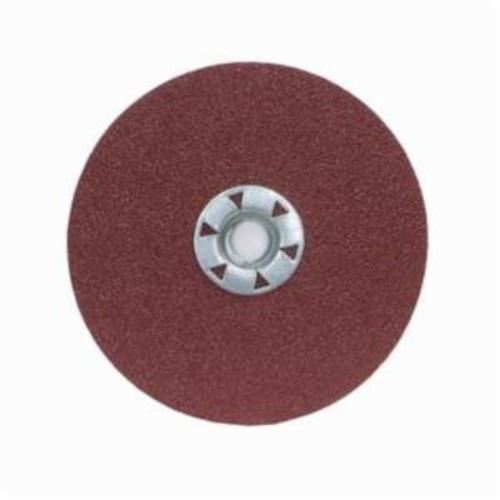 Merit® 08834159141 Heavy Duty Quick-Change Coated Abrasive Disc, 5 in Dia, 5/8-11 Center Hole, 36 Grit, Extra Coarse Grade, Ceramic Alumina Abrasive, Threaded Attachment