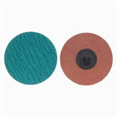 Merit® PowerLock® 08834167120 Zirc Plus R801 Coated Abrasive Quick-Change Disc, 3 in Dia, 120 Grit, Medium Grade, Zirconia Alumina Abrasive, Type TR (Type III) Attachment