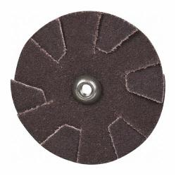 Merit® 08834184055 Overlap Quick-Change Slotted Coated Abrasive Disc, 2 in Dia, 120 Grit, Fine Grade, Aluminum Oxide Abrasive, Cotton Backing