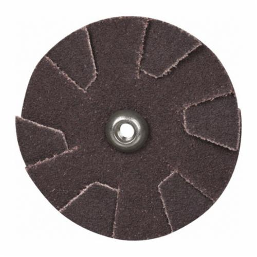Norton® Merit® 08834184055 Overlap Quick-Change Slotted Coated Abrasive Disc, 2 in Dia, 120 Grit, Fine Grade, Aluminum Oxide Abrasive, Cotton Backing