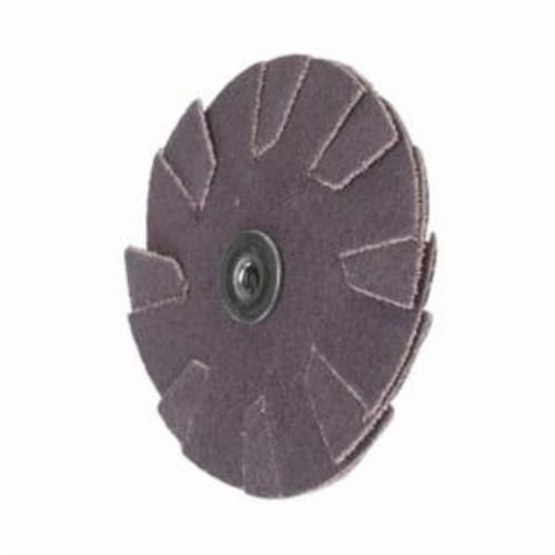 Merit® 08834184085 Overlap Quick-Change Slotted Coated Abrasive Disc, 1 in Dia, P80 Grit, Medium Grade, Aluminum Oxide Abrasive, Cotton Backing