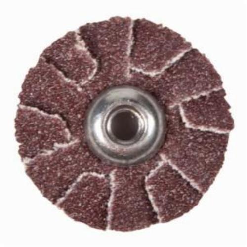 Norton® Merit® 08834184145 Overlap Quick-Change Slotted Coated Abrasive Disc, 2 in Dia, 100 Grit, Medium Grade, Aluminum Oxide Abrasive, Cotton Backing