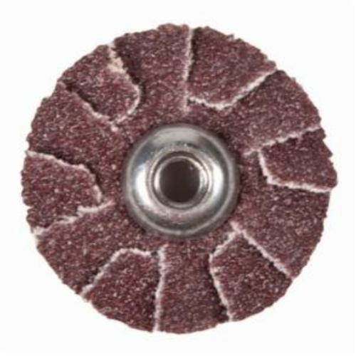 Merit® 08834184346 Overlap Quick-Change Slotted Coated Abrasive Disc, 1 in Dia, P60 Grit, Coarse Grade, Aluminum Oxide Abrasive, Cotton Backing