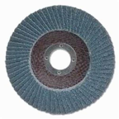 Merit® PowerFlex® 08834191554 Zirc Plus R801 Contoured Premium Raised Hub Standard Density Coated Abrasive Flap Disc, 5 in Dia, 36 Grit, Extra Coarse Grade, Zirconia Alumina Abrasive, Type 29/Conical Disc