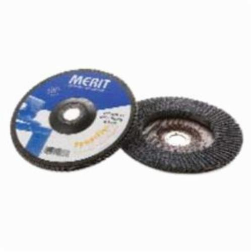 Merit® PowerFlex® 08834190867 Standard Density Coated Abrasive Flap Disc, 7 in Dia, 7/8 in Center Hole, 120 Grit, Fine Grade, Zirconia Alumina Abrasive, Type 27/Flat Disc