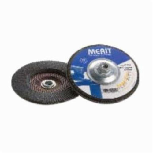 Merit® PowerFlex® 08834194927 Standard Density Coated Abrasive Flap Disc, 7 in Dia, 40 Grit, Coarse Grade, Zirconia Alumina Abrasive, Type 27/Flat Disc
