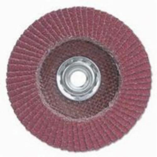 Merit® PowerFlex® 08834191342 Ultra Ceramic Plus R981 Contoured Raised Hub Standard Density Coated Abrasive Flap Disc, 4 in Dia, 80 Grit, Medium Grade, Ceramic Alumina Abrasive, Type 29/Conical Disc