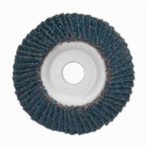 Merit® PowerFlex® 08834193421 Center Mount Contoured Standard Density Coated Abrasive Flap Disc, 4-1/2 in Dia, 7/8 in Center Hole, P36 Grit, Extra Coarse Grade, Zirconia Alumina Abrasive, Type 29/Conical Disc