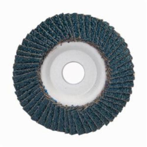 Merit® PowerFlex® 08834193422 Center Mount Contoured Standard Density Coated Abrasive Flap Disc, 4 in Dia, 5/8 in Center Hole, P36 Grit, Extra Coarse Grade, Zirconia Alumina Abrasive, Type 29/Conical Disc