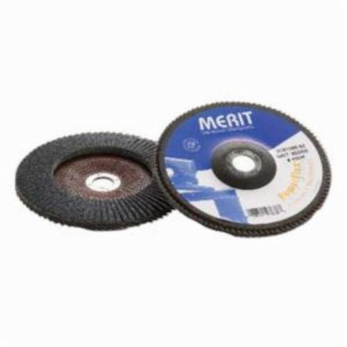 Merit® PowerFlex® 08834193709 Contoured Standard Density Coated Abrasive Flap Disc, 4 in Dia, 5/8 in Center Hole, 40 Grit, Coarse Grade, Zirconia Alumina Abrasive, Type 29/Conical Disc