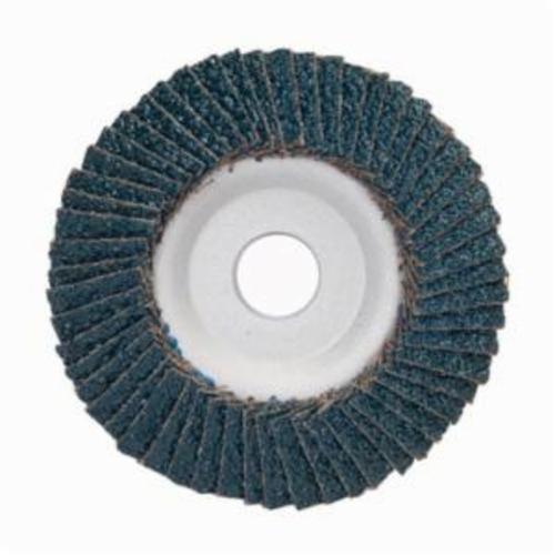 Merit® PowerFlex® 08834193651 Contoured Standard Density Coated Abrasive Flap Disc, 5 in Dia, 7/8 in Center Hole, 60 Grit, Coarse Grade, Zirconia Alumina Abrasive, Type 29/Conical Disc