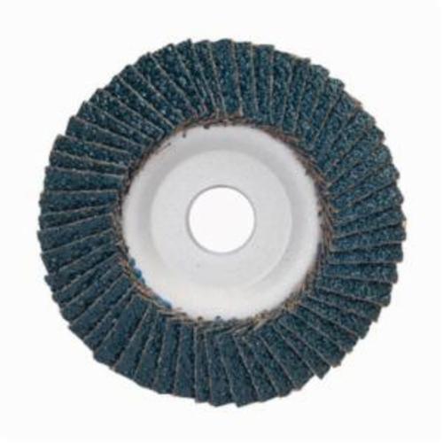 Merit® PowerFlex® 08834193711 Center Mount Contoured Standard Density Coated Abrasive Flap Disc, 4-1/2 in Dia, 7/8 in Center Hole, P120 Grit, Medium Grade, Zirconia Alumina Abrasive, Type 29/Conical Disc