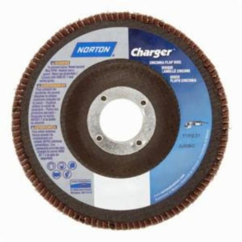 Merit® PowerFlex® Charger™ 63642503537 R822 Jumbo High Density Coated Abrasive Flap Disc, 7 in Dia, 7/8 in Center Hole, P80 Grit, Coarse Grade, Zirconia Alumina Abrasive, Type 27/Flat Disc
