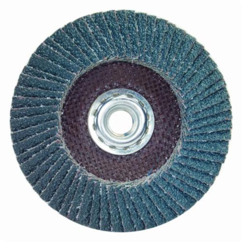 Merit® PowerFlex® 66254419987 R828 Center Mount Standard Density Coated Abrasive Flap Disc, 4-1/2 in Dia, 7/8 in Center Hole, P80 Grit, Coarse Grade, Zirconia Alumina Abrasive, Type 29/Conical Disc