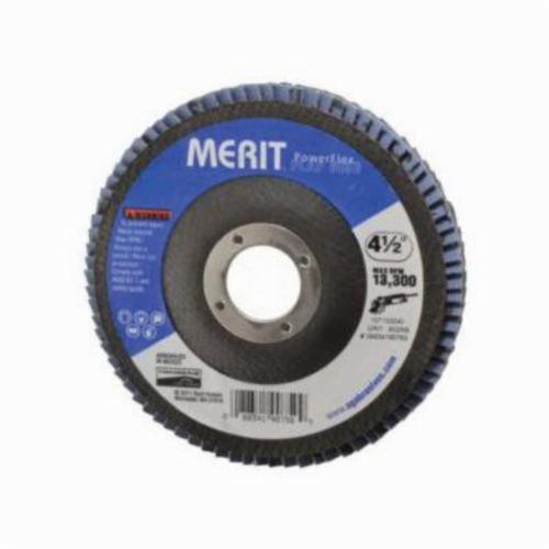 Merit® PowerFlex® 08834190767 High Density Coated Abrasive Flap Disc, 4-1/2 in Dia, 7/8 in Center Hole, 60 Grit, Coarse Grade, Zirconia Alumina Abrasive, Type 27/Flat Disc