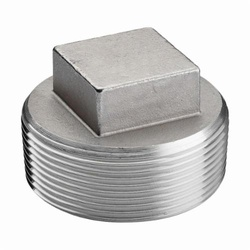 Merit Brass K417-08 Cored Square Head Plug, 1/2 in Nominal, MNPT End Style, 150 lb, 304/304L Stainless Steel, Import
