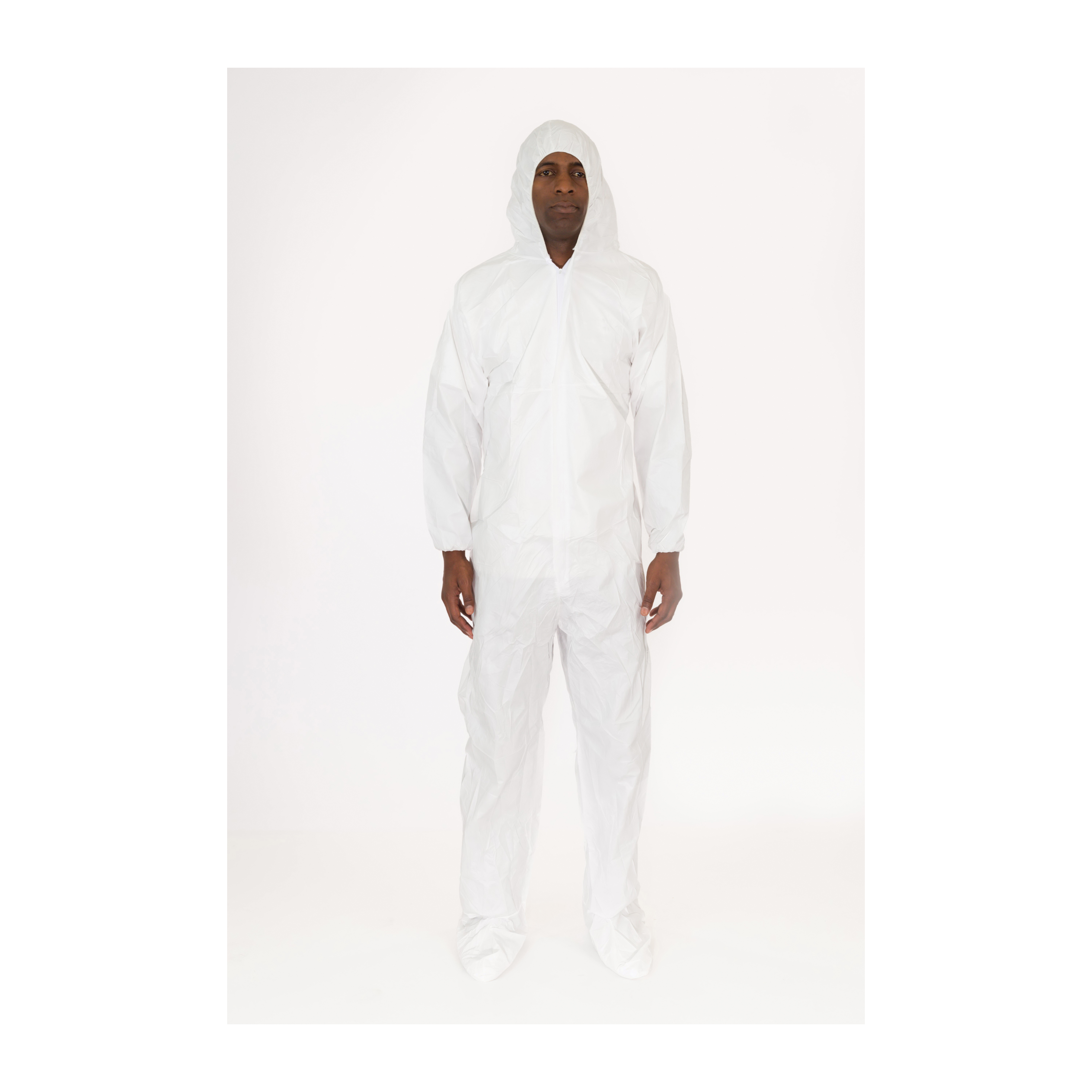 MicroGuard CE® CE8019-BP-4XL Breathable Disposable Coverall With Attached Hood and Boots, Tunnelized Elastic Wrist and Ankle, 4XL, White, Microporous Fabric, 51 to 54 in Chest, 32-1/2 in L Inseam
