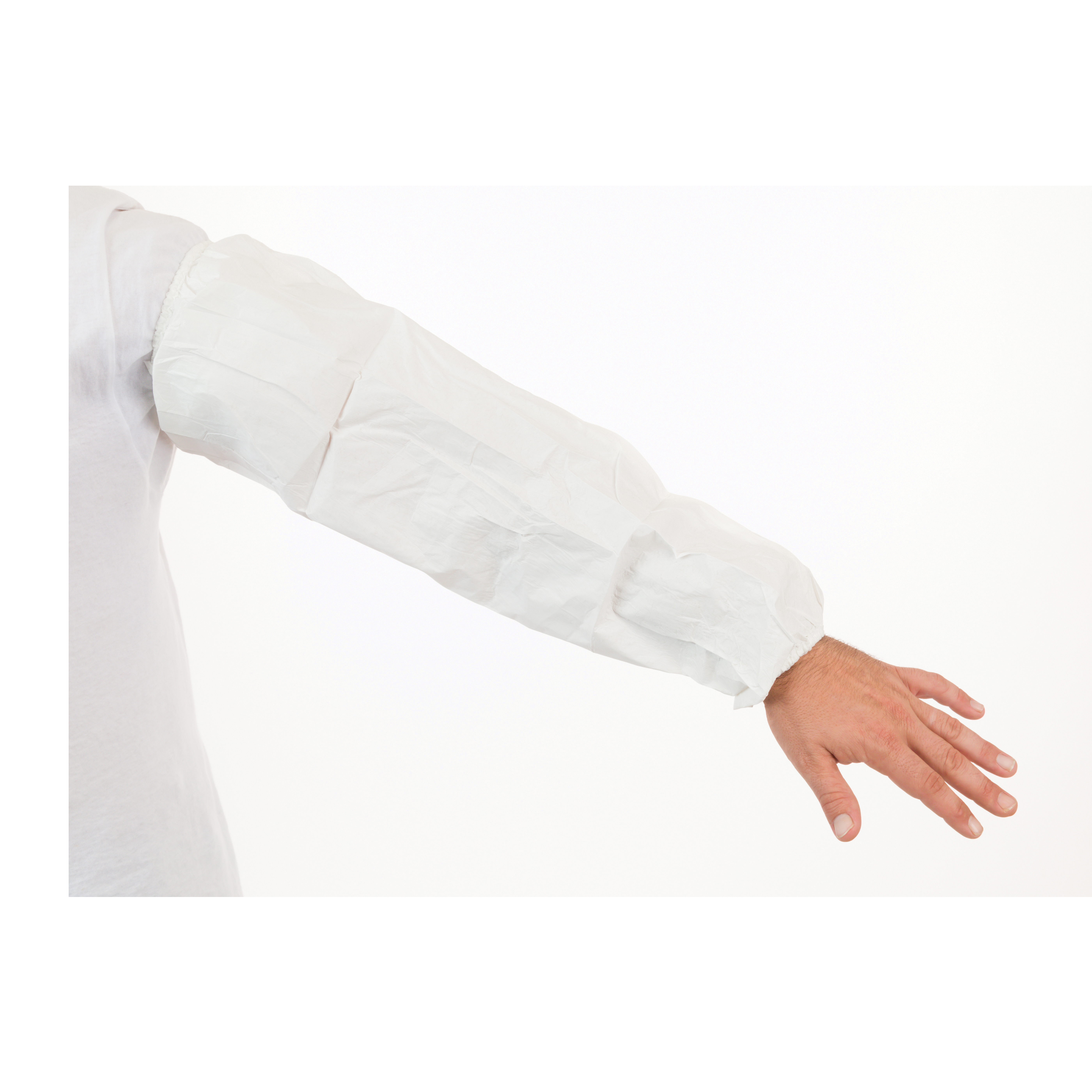 International Enviroguard MicroGuard MP® 8065 Disposable Sleeve, Universal, 18 in L x 15 mil THK, White, Microporous Fabric