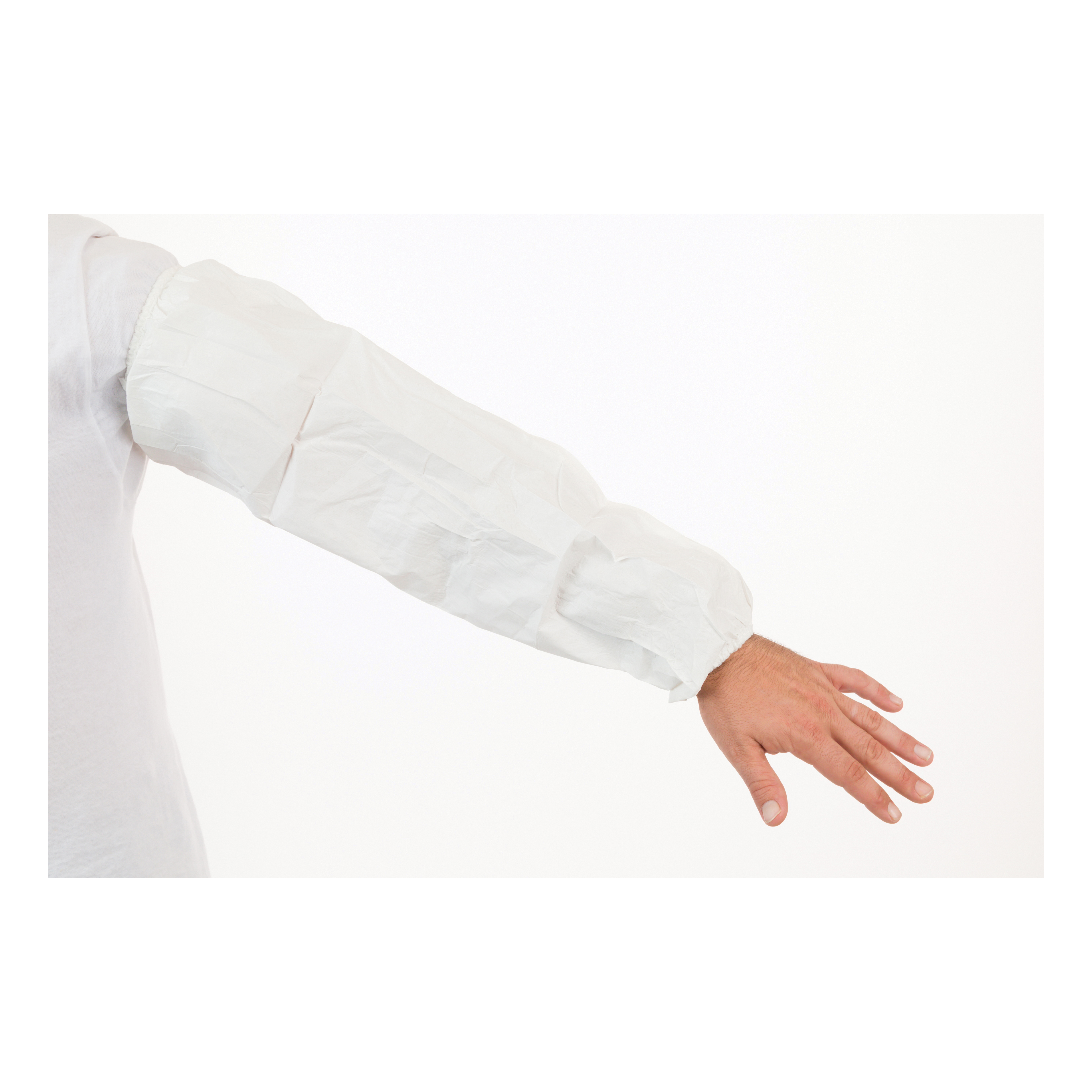 MicroGuard MP® 8065 Disposable Sleeve, Universal, 18 in L x 15 mil THK, White, Microporous Fabric