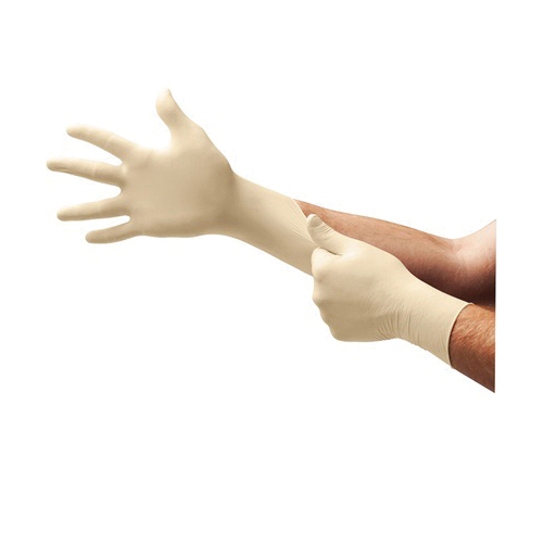 Microflex® DGP-350 Diamond Grip Plus™ Non-Sterile Single Use Disposable Gloves, Natural Rubber Latex, Natural, 9.6 in L, Powder Free, Fully Textured, 5.1 mil THK, Application Type: Examedical Grade, Ambidextrous Hand