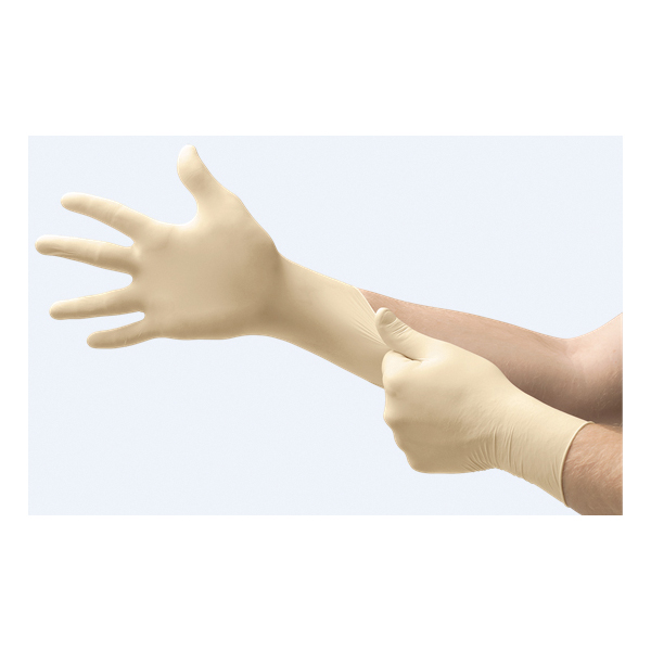 Ansell Microflex® Diamond Grip® MF-300-L Disposable Gloves, L, Natural Rubber Latex, Natural, 9.6 in L, Non-Powdered, Textured Finger, 6.3 mil THK, Application Type: Exam Grade, Ambidextrous Hand