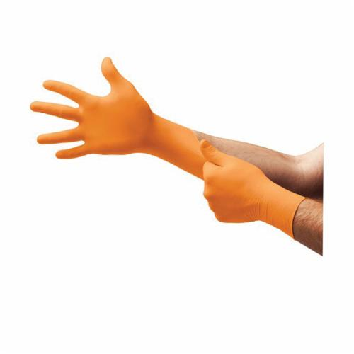 Microflex® N485 Blaze® Non-Sterile Single Use Disposable Gloves, 2XL, Nitrile, Hi-Viz Orange, 10.6 in L, Powder Free, Textured Finger, 5.1 mil THK, Application Type: Exam/Medical Grade, Ambidextrous Hand