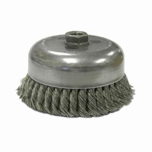 Weiler® 12826 Internal Nut Single Row Cup Brush, 4 in Dia Brush, 5/8-11 UNC, 0.023 in, Standard/Twist Knot, Stainless Steel Fill