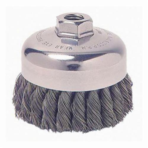 Mighty-Mite™ 13150 Single Row Cup Brush, 3-1/2 in Dia Brush, M10x1.25, 0.023 in, Standard/Twist Knot, Steel Fill